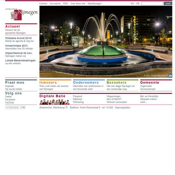 Voorpagina website gemeente Nijmegen